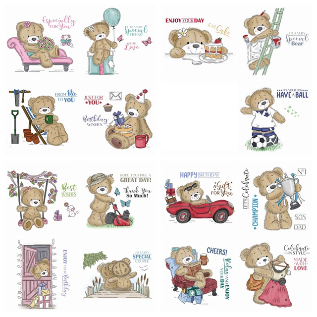 15pcs/Set love Bear 3x4 inch Clear Stamps For DIY Scrapbooking HandCraft Paper Cards Transparent Stempels Silicone Seal New
