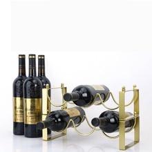 European-style Stackable Wine Rack Iron Decor Wine Bottle Holder Creative Wine Cabinet Display Rack Home Living Room Decoration mettle horse drawn cart style wine bottle holder rack silver