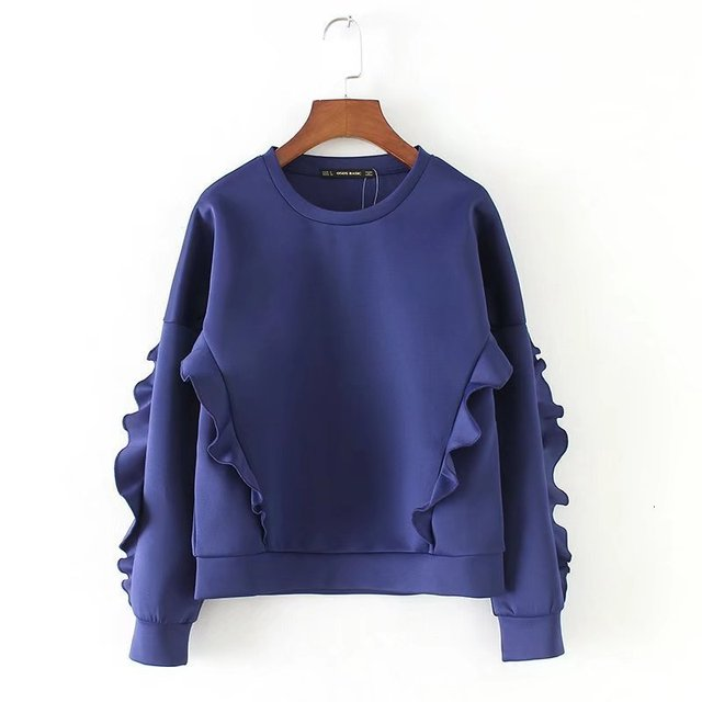 DEAT Autumn Long Petal Sleeve Ruffles O Neck Blue Loose Pullovers Jumper Women Sweatshirt MG917