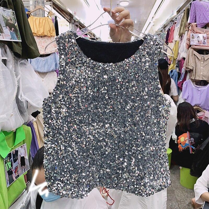 Sexy Sequin Shiny Sleeveless Vest Shirt Women Short Slimming Outer Wear All-match Temperament Short Top Summer Tank Tops
