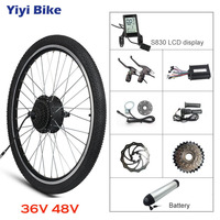 Electric Wheel Motor 48V 36V 500W Electric Bicycle Conversion Kit Rear Hub Motor ebike Kit with Battery 20'' 26'' 27.5'' 700c