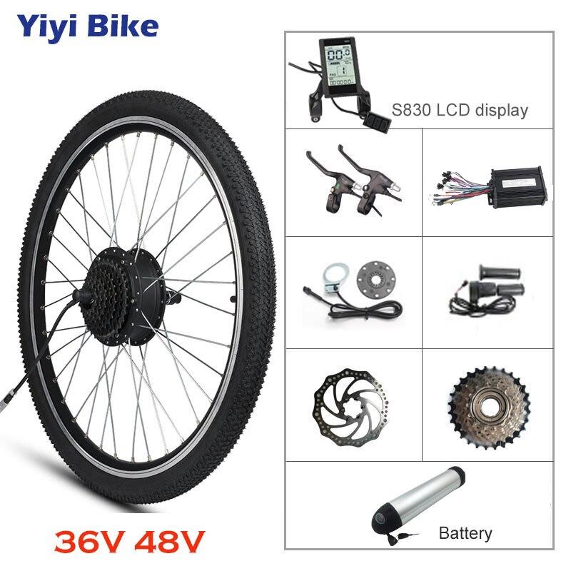 Silnik elektryczny koła 48V 36V 500W zestaw do konwersji roweru na elektryczny tylna piasta silnik ebike zestaw z baterią 20 ''26'' 27.5 ''700c
