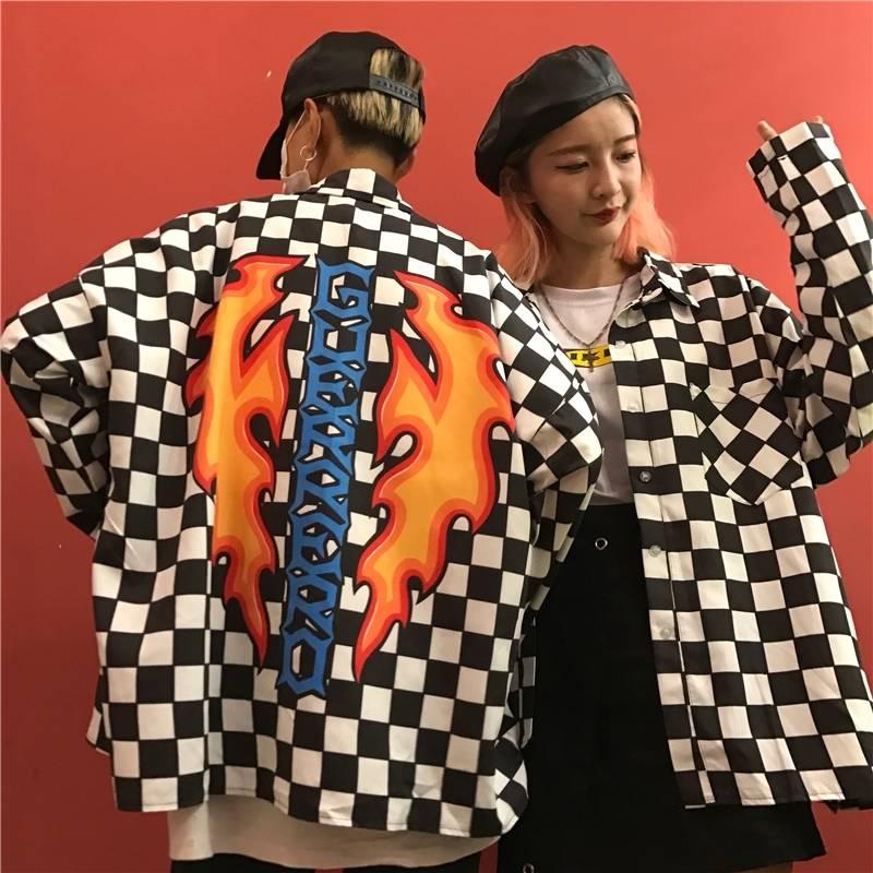 Blouse Women Couple Coat Hip Hop Street Black And White Grid Plus Size Loose Flame Letter Print Female Male Long Sleeve Shirt