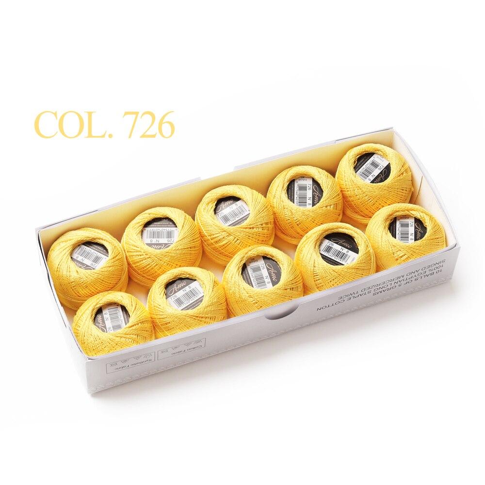 10 коробка с шариками Размер 8 жемчуг Хлопок нитки для вязания 43 ярдов двойная Мерсеризация длинный штапель из египетского хлопка 79 DMC цвета - Цвет: 726