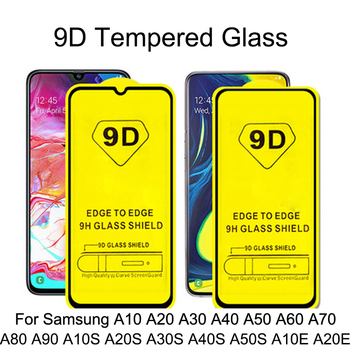 100Pcs 9D Curved Tempered Glass For Samsung Galaxy A10 A20 A30 A40 A50 A60 A70 A80 A90 Screen Protector A10S A20S A30S M10 M20
