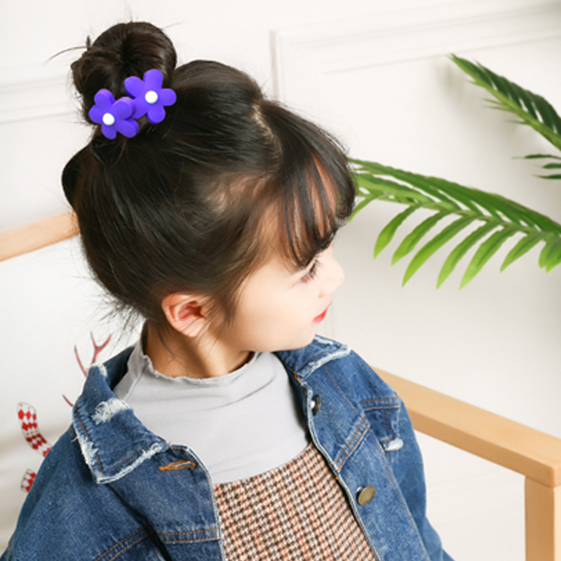 2PC Summer New Style Princess Small Hair Circle Baby Size Chirp Leather Mini Flower