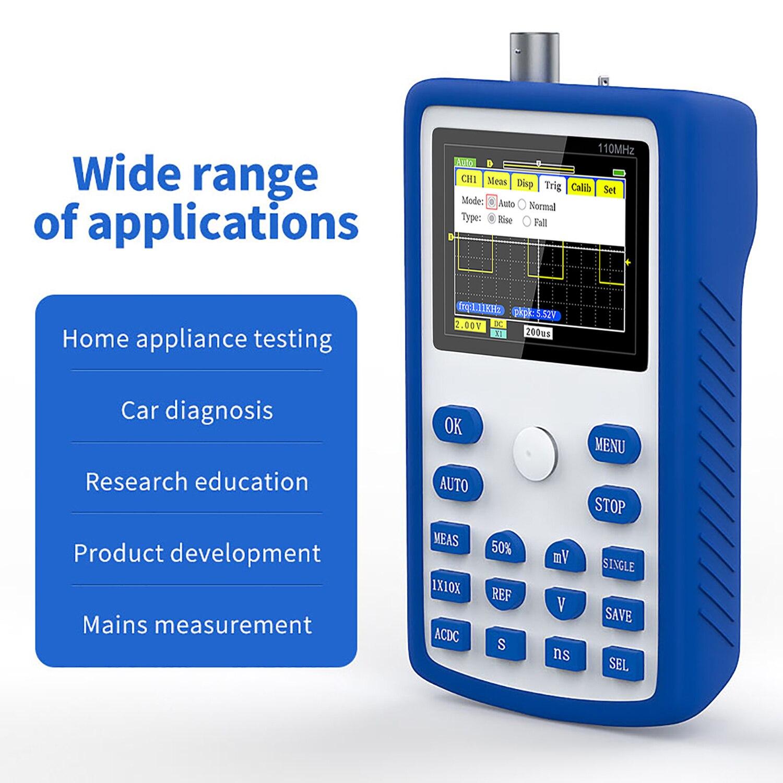 FNIRSI-1C15 osciloscópio digital handheld 500 ms/s taxa de amostragem com 110mhz largura de banda 1khz/3.3v calibração onda quadrada