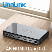 Unnlink HDMI Splitter 1X4 UHD4K@30Hz FHD1080P60 HDMI 1 In 4 Out for LED Smart TV monitor projector mi box3 ps4 xbox one computer