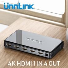 Unnlink Hd Mi Splitter 1X4 UHD4K @ 30Hz FHD1080P60 Hd Mi 1 In 4 Out Voor Led Smart Tv monitor Projector Mi Box3 Ps4 Xbox One Computer