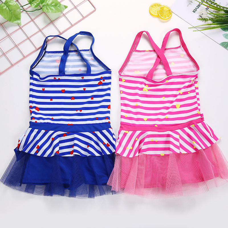 2018 New Style CHILDREN'S Swimsuit Girls One-piece Lace Bathing Suit Baby Swim Bathing Suit Korean Style Hipster Bathing Suit Wh