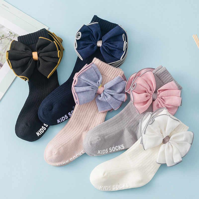 Nouveauté chaussettes enfants genou pour filles gros nœud bébé chaussettes pour filles mode coton chaussettes pour enfants pour fille hiver de haute qualité