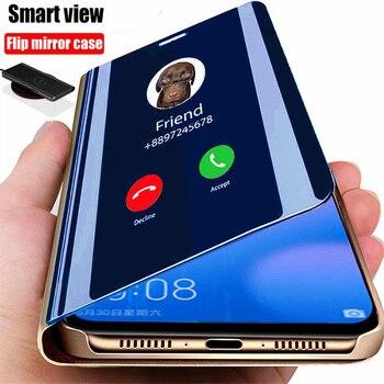 Smart Spiegel Flip Telefon Fall Für Xiaomi Redmi Hinweis 9 9s 9C 8T 8 7 6 6A 9A 7A Mi 10 10T Pro Lite Poco X3 NFC M3 Abdeckung Coque