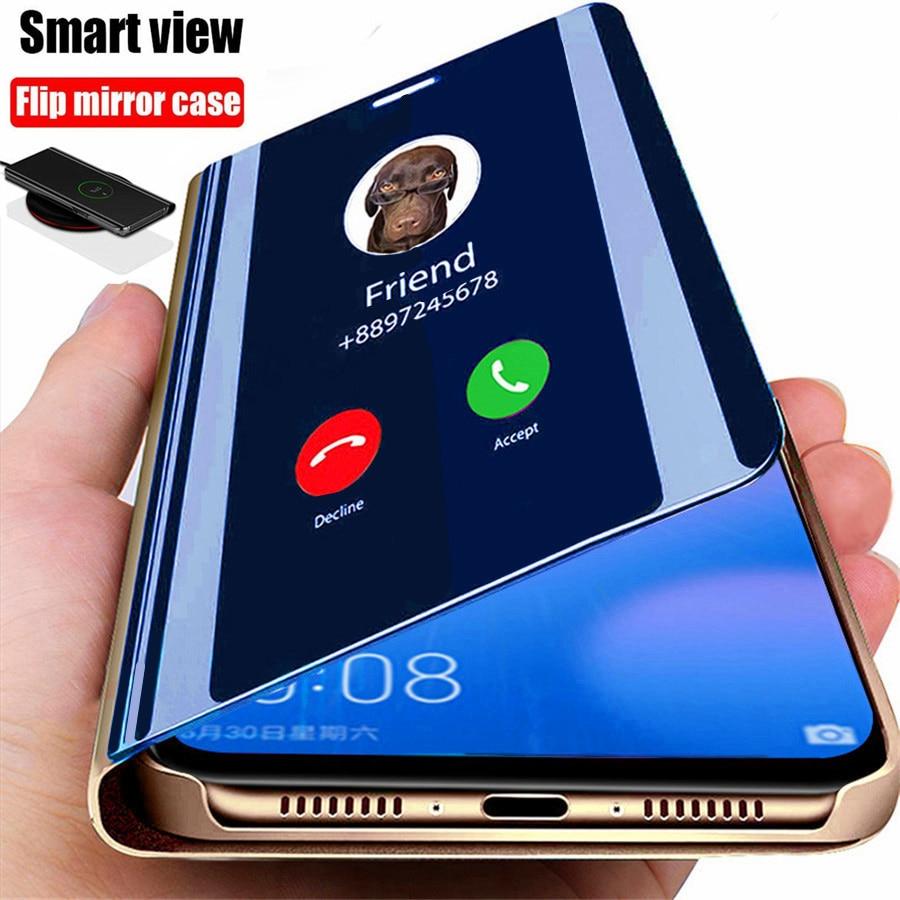 Smart Spiegel Flip Telefoon Case Voor Xiaomi Redmi Note 9 9S 9C 8T 8 7 6 6A 9A 7A Mi 10 10T Pro Lite Poco X3 Nfc M3 Cover Coque