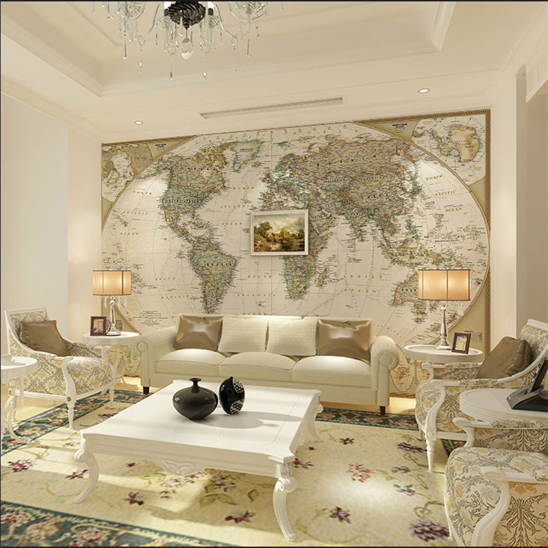Custom European Retro Large HD The World Map Mural Wallpapers For Office Living Room Study Wall Murals 3D Wall Papers Home Deocr