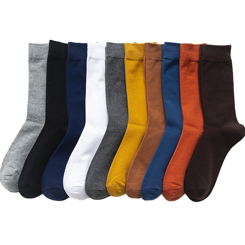 2019 New Men's Colour Cotton Socks Plus Size 39-45 Autumn Winter Long Socks  For Men Dress  Gifts Business Casual Deodorant  Sox