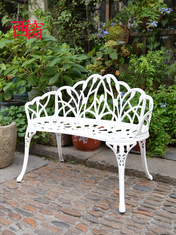 Park Chair Outdoor Bench Leisure Bench Anti-corrosion Iron Chair Seat Back Garden Outdoor Balcony Double Chair Wood