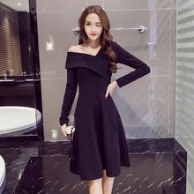 Elegant Black Long Sleeve Dress Women Autumn Winter Irregular S-XXL Retro Office A Line Solid Color Sexy Robe Femme