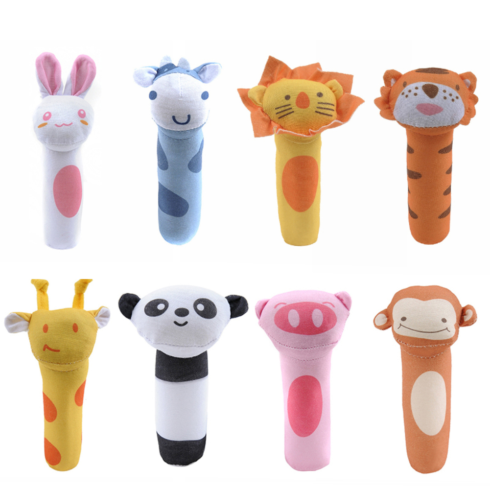 Baby Rattle Toys Plush Animals Baby Cartoon Bed Toys Educational Toys Rabbit Panda Hand Bells Mobiles Cute Baby Toys