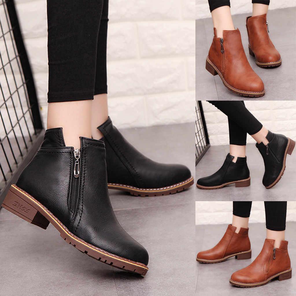 Mùa Xuân Năm 2020 Mùa Đông Mới Giày Boot Nữ Cổ Ngắn Đế Vuông Thời Trang Cao Cấp Dây Kéo Bên Hông Boot Casual Nữ Giày Mắt Cá Chân Khởi Động giày Boot Da # O15