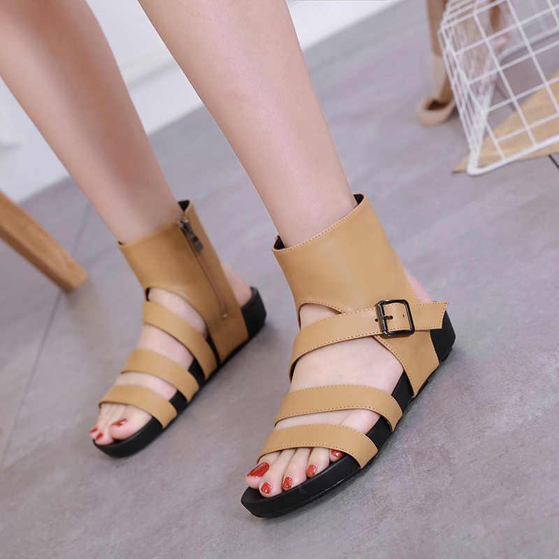 2019 sommer neue outdoor damen sandalen Römischen Koreanische version flachen boden wilden casual zipper schuhe dicke offene spitze damen strand sho
