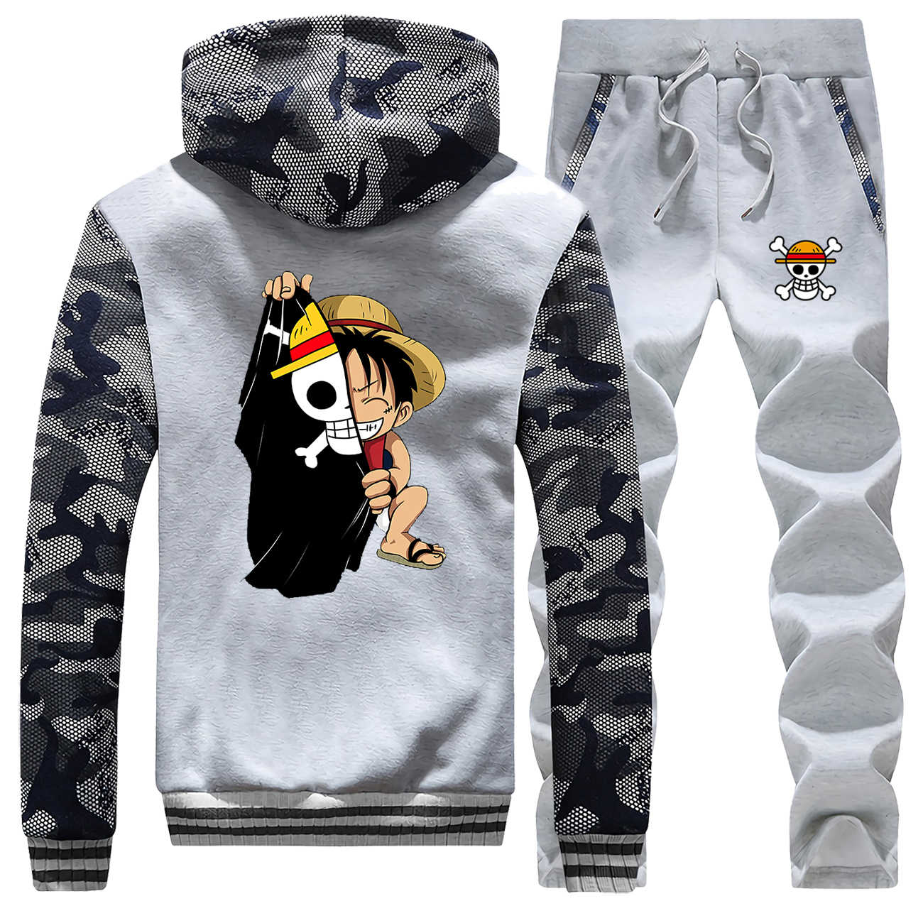 Japanischen Anime männer Voller Anzug Trainingsanzug Ein Stück Sweatsuit Luffy Druck Camo Hoodies Fleece Harajuku Outwear Winter Warme Jacke