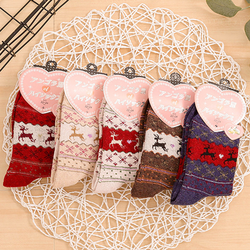 Sika Deer Print Women Cotton Socks Winter Thick Warm Socks Women Casual Cartoon Colorful Christmas Socks Family Gift