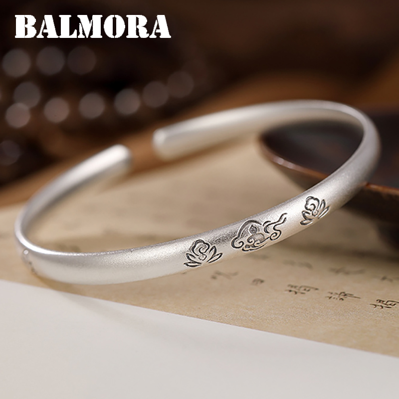 BALMORA 100% réel pur 999 argent Sterling bracelets Bijoux bracelets pour femmes cadeaux Lotus nuage ouvert bracelet Bijoux