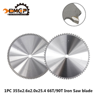 1pc 355x2.6x2.0x25.4mm Circular Saw Blade 66T/90T Iron Saw Blade Tungsten Carbide Iron Cutting Disc Saw Power Tools