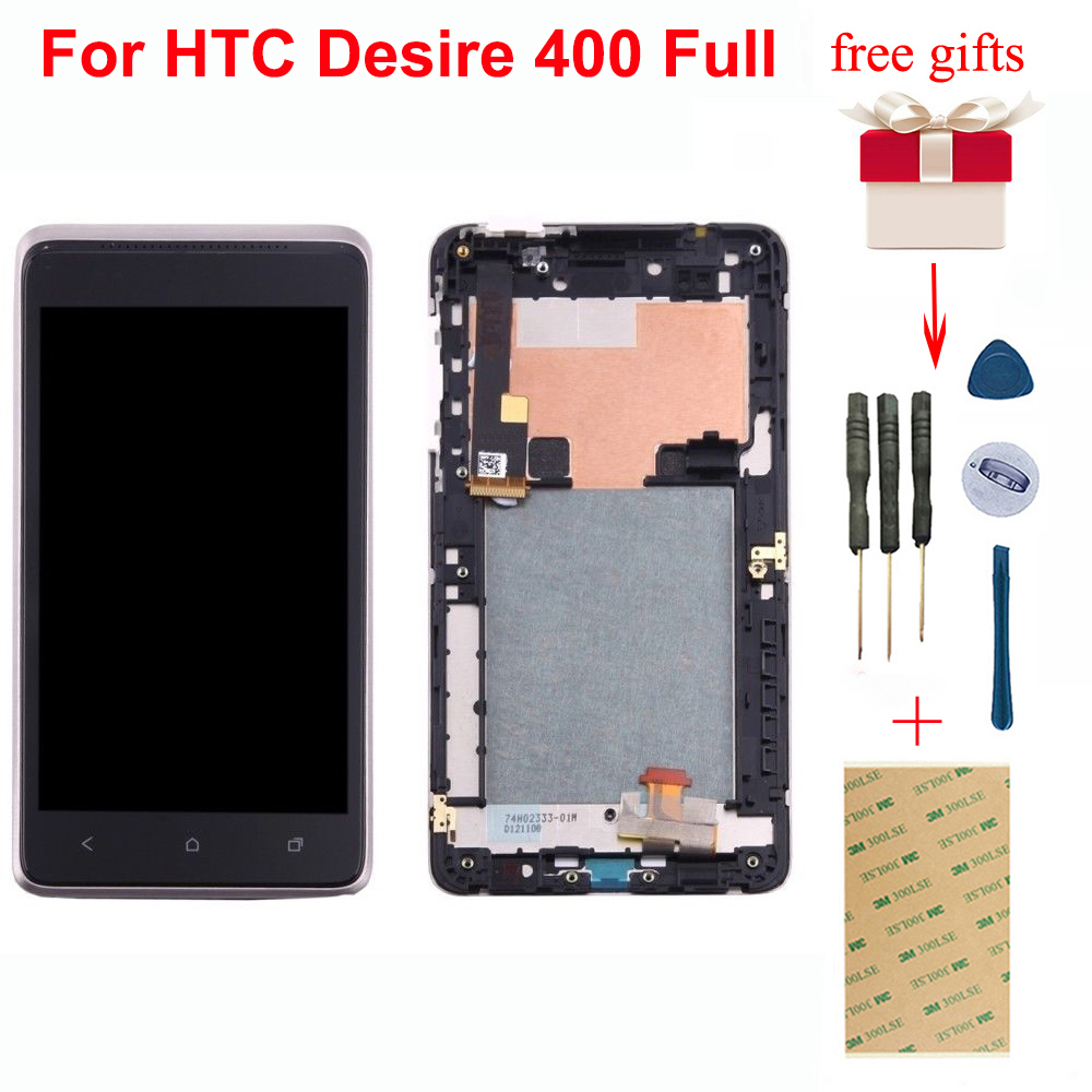 For HTC Desire <font><b>400</b></font> Full Touch Screen Digitizer Sensor Glass + LCD Display Monitor Panel Module Assembly With Silver Frame image