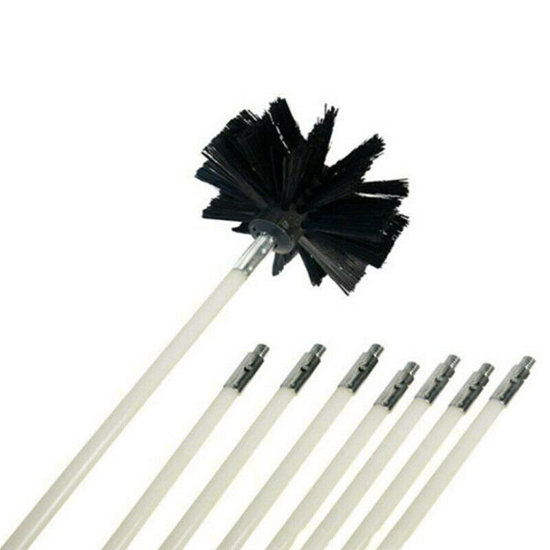 8x Rod Chimney Cleaner Brush Cleaning Rotary Sweep System Fireplace Kit+1*Brush