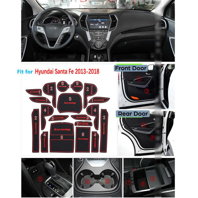 Для Hyundai Santa Fe 2013 2014 2015 2016 2017 DM Maxcruz Grand SantaFe ix45 Противоскользящий резиновый слот для ворот, чашки, коврик, дверной паз