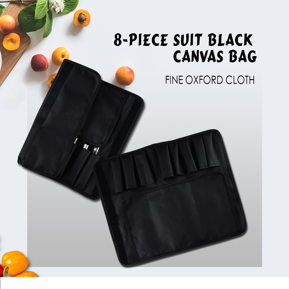 Sowoll 8 Pcs Kitchen Knife Bag Durable Black Canvas Roll Bag With 8 Pockets For Kitchen Tools Chef Knife Portable Knife Holder