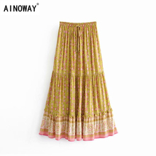 Винтажная шикарная модная женская пляжная юбка в стиле хиппи, желтая юбка с цветочным принтом, с высокой эластичной талией, трапециевидная Женская юбка