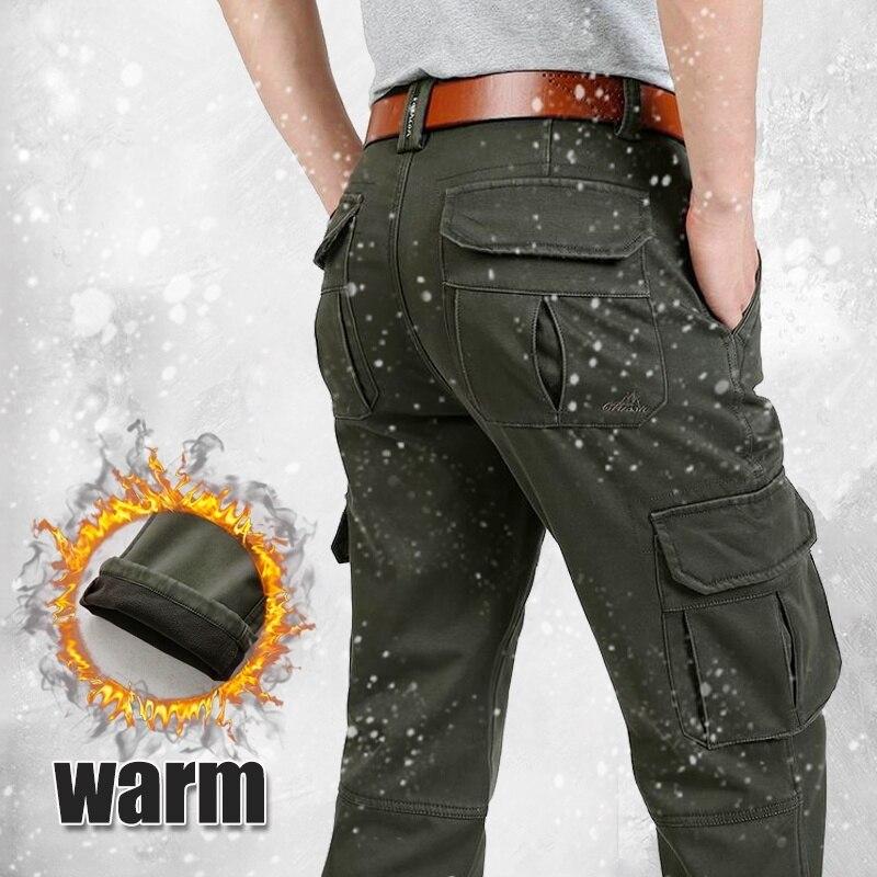 Winter Men Cargo Pants Warm Fleece Military Pants Plus Size Male Outdoor Multi Pocket Trousers Men's Sportswear Casual Pants