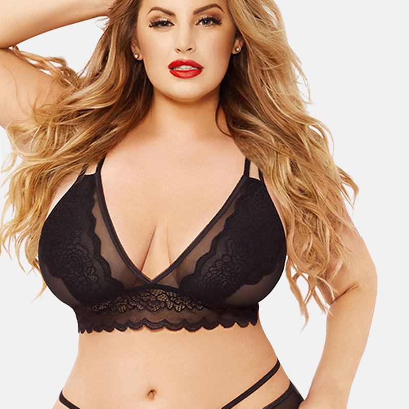 XXXL/4XL/5XL Big Plus Size Lingerie Sexy Lace Bras For Women Transparent Underwear Tops Lace Floral Seamless Push Up Bralette