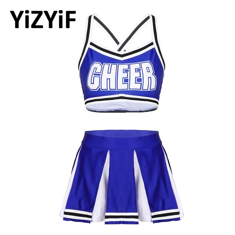 Women Cheerleader Costume Dance Competition Cheerleader Outfit Sleeveles Crop Top With Mini Pleated Skirt Cheerleading Uniform