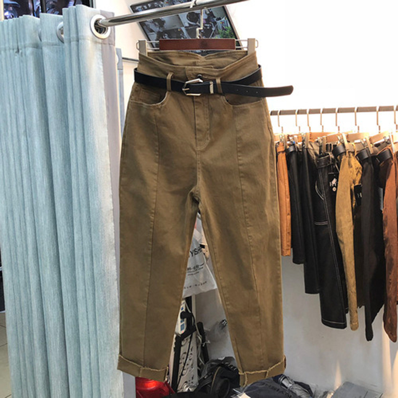 Spring Autumn New Fashion Women Jeans Plus Size All-matched Casual Cotton Denim Harem Pants Ladies Loose Khaki Jeans S506