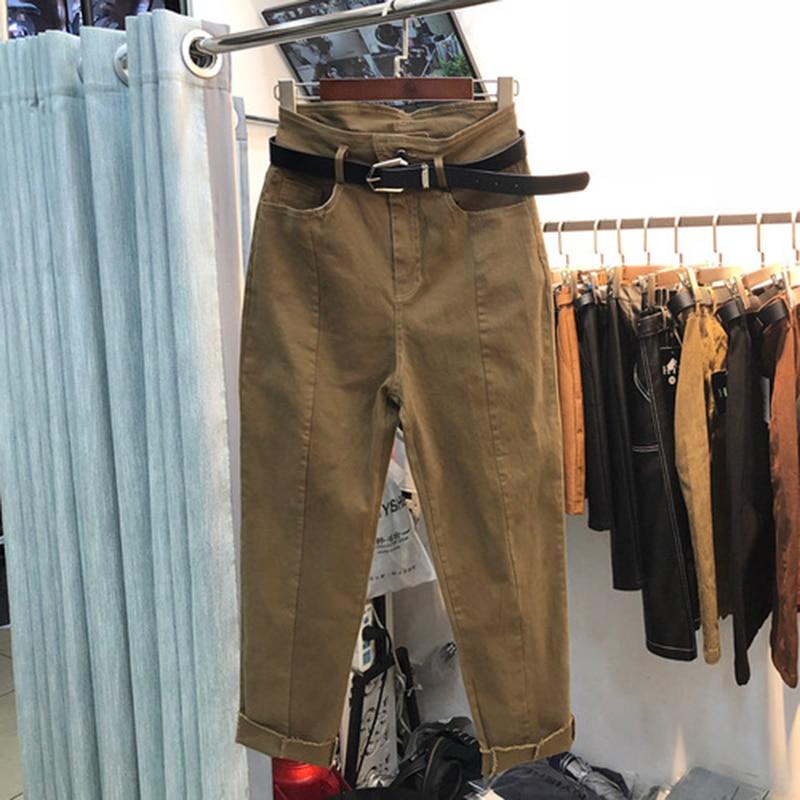 Spring Autumn New Fashion Women Jeans Plus Size All-matched Casual Cotton Denim Harem Pants Ladies Loose Khaki Jeans S506