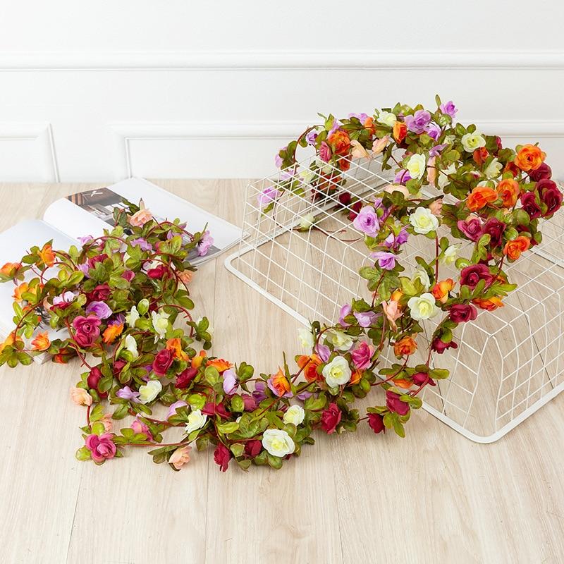 1pc 2,2 m 45 kopf künstliche rose reben hängen blumen für wand dekoration pflanzen blätter girlande romantische hochzeit hause dekoration