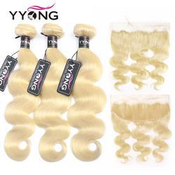 Mèches brésiliennes Remy avec Closure-Yyong, cheveux naturels, Body Wave, 4 pièces/lot, avec Frontal blond 613