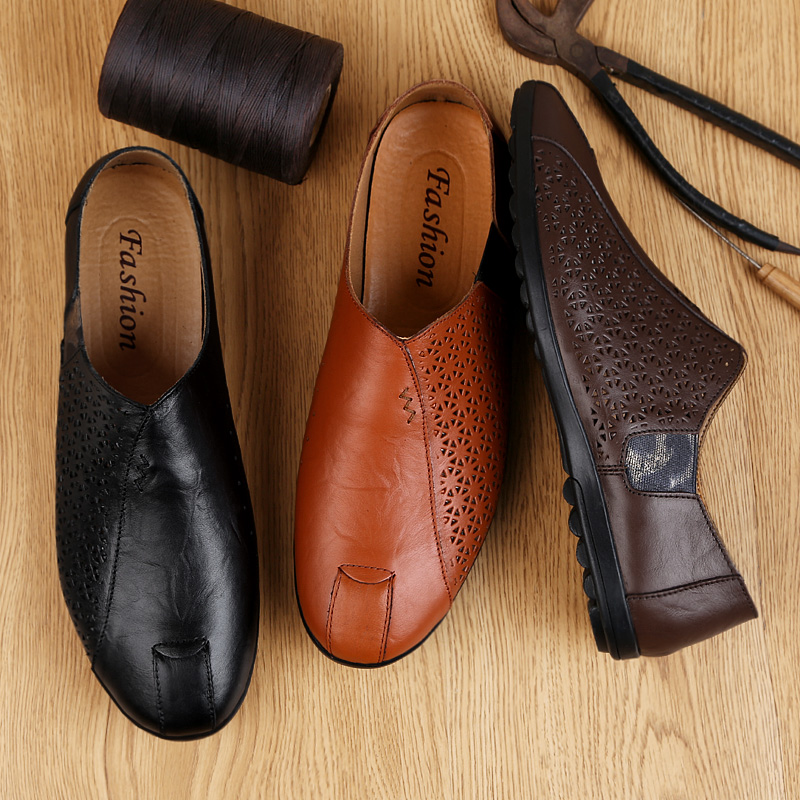100% Genuine Leather Shoes Men Loafers Soft Cow Leather Men Casual Shoes New Hollow Out Male Footwear Black Brown Slip-on %