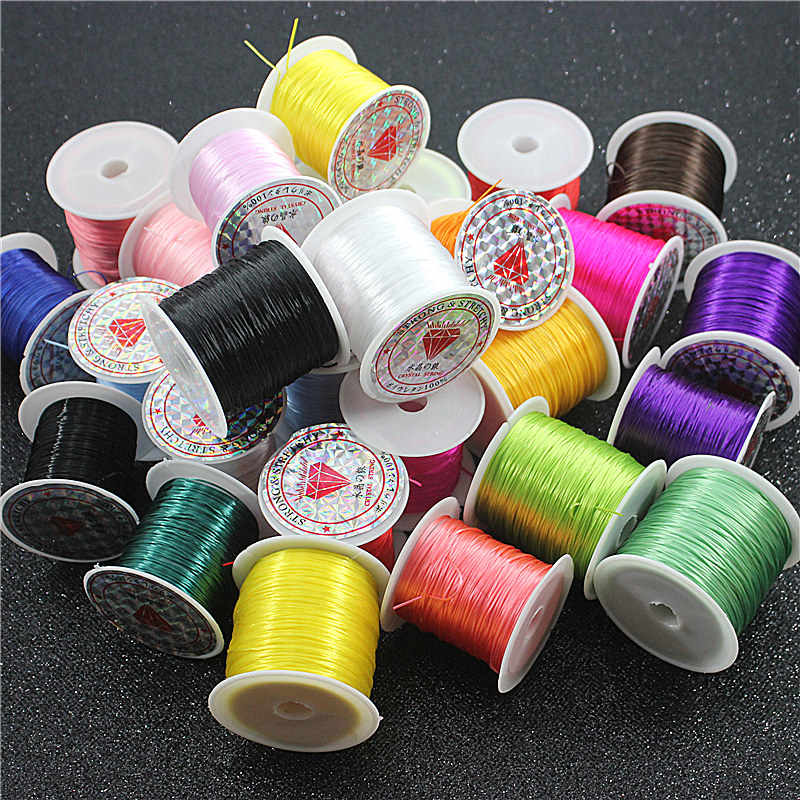 10M/50M colorful flexible elastic crystal cord / roll making jewelry beaded bracelet fishing line rope
