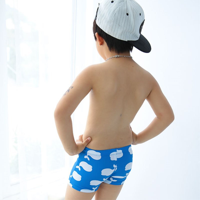 Blue Simple White Whale CHILDREN'S Swimming Trunks Cute Boy Infants Small Children Swimming Hot Springs AussieBum