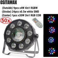 free shipping 30W LED Disco COB Par Light RGB 3IN1 9X4W 4IN1 RGBW Color Mixing IR Remote Stage Lighting DMX LED Par Light
