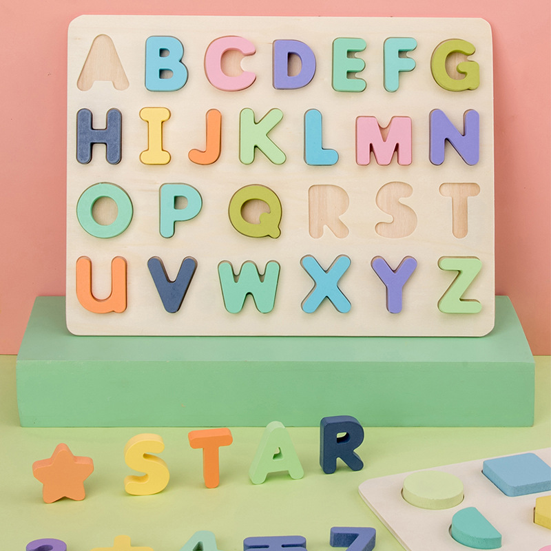 Kids Early Educational Montessori Toys ABC Puzzle Digital Wooden Toys Jigsaw Letter Alphabet Number Puzzle Baby Toys Gifts