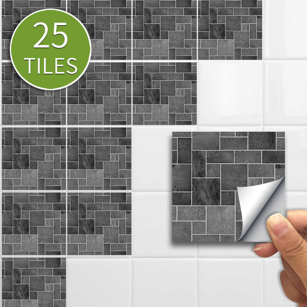 25pcs Pack Kitchen Black Grey Stone Effect Wall Sticker Mosaic Traditional Pvc Tile Stickers Self Adhesive Bathroom Wall Decor Wall Stickers Aliexpress