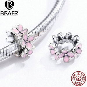 Pink Spacer BISAER 925 Sterling Silver Blush Pink Stackable Daisy Flowers Silver Charms for Bracelets Making ECC1484(China)