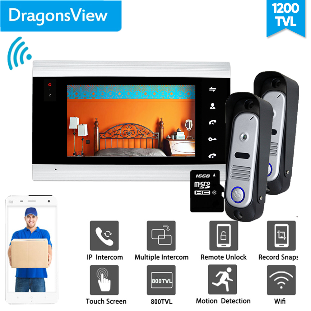 Dragonsview 7 Inch Wifi  Intercom IP Wireless Video Door Phone Intercom System  Wired Doorbell With Camera Unlock Motion Record