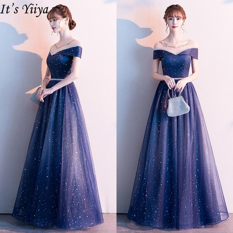 It's Yiiya Evening Dress Plus Size Navy Blue Evening Dresses Long Off Shoulder Formal Gowns LF184 Long Robe De Soiree 2020