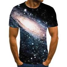 2020 Foreign Trade Hot Style Galaxy Starry Sky Print Short Sleeve Men 'S Summer Fashion 3dt Shirt Breathable Top
